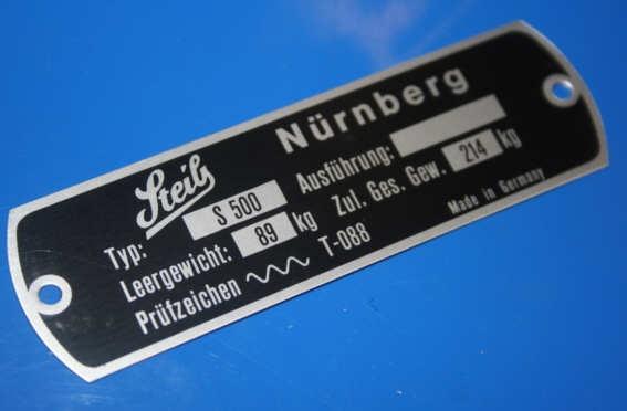 Typenschild für S500 am Rahmen Steib