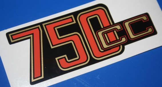 Aufkleber 750cc R75/6 Batterieabdeckung gold/rot