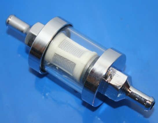 Benzinfilter 7mm Anschluß verchromt Glas 2 Ventiler Boxer